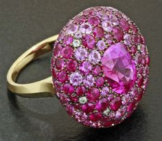 Pink Sapphire, Diamond, 18K Yellow Gold and 18K White Gold Ring by James de Givenchy #Taffin #JamesdeGivenchy #Ring
