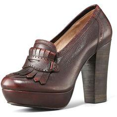 Frye stacked heel loafer...