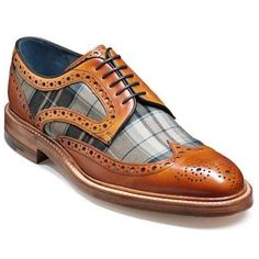 A traditional wingtip derby with a unique twist. This Cedar Calf/ Check Fabric combination is a distinctive addition, Stormwelted on a Leather Sole. Leather Brogues, Leather Shoes, Leather Fabric, Calf Leather, Men's Brogues, Loafers, Mens Fashion Shoes, Men S Shoes, Formal Shoes