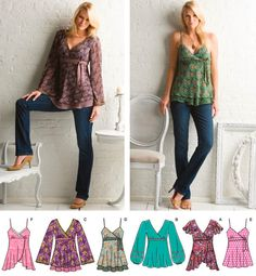 BOHO TOPS Sewing Pattern - Misses Peasant Renaissance Bohemian Top - 5 Sizes