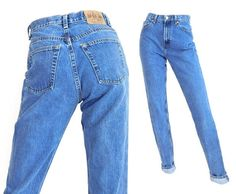 "Sz 6 L 90s GAP High Waisted Mom Jeans - Vintage Women's Slim Fit Tapered Tapered Leg Blue Jeans - 27"" Waist"
