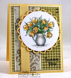 Tulip in Hobnail Pitcher digital stamp set by Power Poppy, card design by  Kathy Jones.