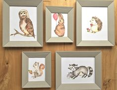 Woodland Critters Nursery, kids rooms - Gallery Wall Set of 5 original Art Prints, raccoon, squirrel, hedgehog, owl by LittleFellaPrints on Etsy https://www.etsy.com/listing/250616633/woodland-critters-gallery-wall-set-of-5