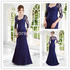 2014 Elegant Crystal Beaded Lace Long Sleeves Navy Blue Chiffon Woman Formal Mother of the Bride Dresses Prom Evening Gown MD033 $149.99