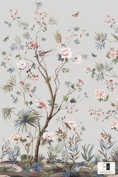 Imported wallpapers from Teseed Domestic floor WALLPOWER - Importierte T Vintage Flowers Wallpaper, Bird Wallpaper, Home Wallpaper, Chinese Wallpaper, Wall Murals, Wall Art, Chinoiserie Wallpaper, Paint Designs, Floral Prints