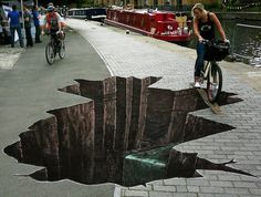 Street art with 3D illusion