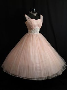 Vintage 1950's 50s Pink Beaded Ruched Chiffon Organza Party Prom Wedding Dress | eBay