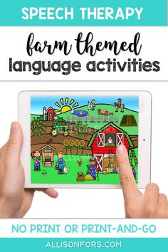 Preschool farm speech therapy activities and language scene! Use NO PRINT or PRINT-AND-GO. Includes pre-made Wh questions, following directions, verbs, prepositions, pronouns, basic concepts, and categories cards! Speech Therapy Activities, Language Activities, Toddler Activities, Preschool Farm, Nouns And Pronouns, Problem Solving Activities, Writing Pictures, Wh Questions, Speech Room