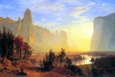 Albert Bierstadt Yosemite Valley Sun Rise Poster
