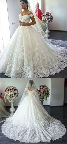 Vintage V-neck Off The Shoulder Lace Wedding Ball Gown Dresses 2018