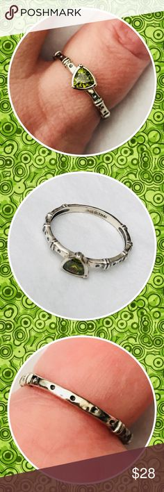 Silpada Green Peridot Stacking Ring Sterling silver ring with a beautiful triangular green peridot.  Perfect for stacking.  Size 10.5. Silpada Jewelry Rings