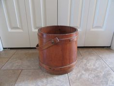 Large vintage wood firkin with handle- solid, beautiful, ready to display or use by HeathersCollectibles on Etsy