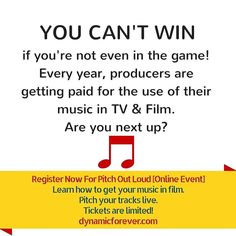 YOU CAN'T WIN  if you're not even in the game! Every year producers are getting paid for the use of their music in TV & Film.  Are you next up?  Register Now For Pitch Out Loud [Online Event] Learn how to get your music in film.  Pitch your tracks live. Tickets are limited! http://ift.tt/1UgVNoP  #filmcomposer #musicforfilm #filmmusic #listeningsession #pitchoutloud #dynamicproducer #dynamicon #licensing #trailermusic #dynamicforever #musicpitching