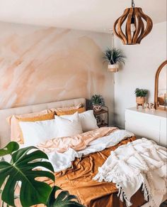 This beautiful boho bedroom is perfect for your bright minimalist home Bring a touch of colour with this pink and orange abstract removable wall mural bohemian decor bohemian wallpaper abstract wallpaper Bohemian Bedroom Decor, Boho Room, Eclectic Bedroom Decor, Boho Teen Bedroom, Whimsical Bedroom, Bohemian Apartment Decor, Fall Bedroom Decor, Hippie Bedrooms, Summer Bedroom