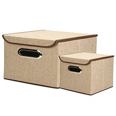 SHACOS Collapsible Nonwoven Fabrics Storage Bins with Lids Multi Functional Containing Box for Clothes Kid Toys Office Files ShelvesSet of 2 Organizer Cubes101010 181212 2 Khaki * Click for Special Deals #KidsBookShelves Storage Bins With Lids, Fabric Storage Bins, Bookshelves Kids, Book Shelves, File Shelf, Office Files, Special Deals, Garage Storage, Woven Fabric