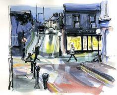 Urban Sketchers Drawing Sketches, Drawings, Sketching, Street Pictures, Urban Sketchers, Scenery, Night, Sketchbooks, Watercolors