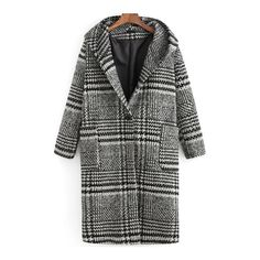 SheIn(sheinside) Black White Hooded Pockets Plaid Coat (€24) ❤ liked on Polyvore featuring outerwear, coats, sheinside, black, hooded coat, wool coat, pocket coat, tartan coat and long sleeve coat