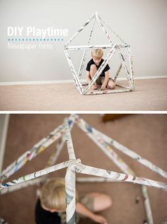 newspaper forts diy indoor play forts for kids