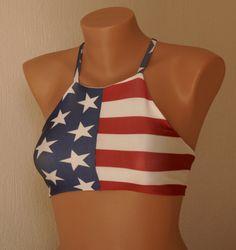 PADDED American flag high neck halter bikini top-Bathing suit-High neck swimwear-4th July bikini top-High neck top-Flag bikini top-Plus size
