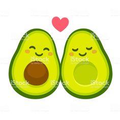 "Cute cartoon avocado couple in love, ""avocuddle"". Two avocado halves. Valentines Day Greetings, Funny Valentine, Cartoon Drawings, Easy Drawings, Avocado Cartoon, Couple In Love, Valentines Day Drawing, Cute Avocado, Kawaii Faces"