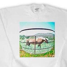 Tan Horse in a Bubble on Green Pasture with The Outside Layers Done in Vibrant Colors and Posturized Sweatshirt