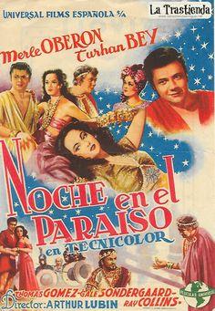 Noche en el Paraíso - Programa de Cine - Merle Oberon - Turhan Bey Merle Oberon, Gale Sondergaard, Film Poster, Movie Posters, Retro, Cinema, Movies, Tv, Old Books