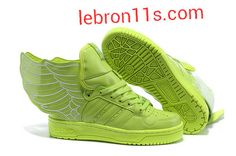 Lebron11s.com Wholesale Aug 2013 Shoes Jeremy Scott Wings 2.0 Adidas X JS Womens Lime Green G44396 Discount To $62.91