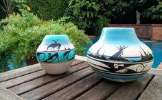 Hozoni Pottery Set/Native Pottery Set/Glazed Indian Pottery/Vintage Indian Pottery/Landscape Pottery/Hozoni Indian Pottery/*FREE GIFT WRAP* by aLaRoad on Etsy