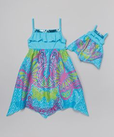 Another great find on #zulily! Turquoise Butterfly 'Peace' Dress & Doll Dress - Toddler & Girls by Dollie & Me #zulilyfinds