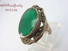 Estate Sterling Silver 925 Oval Green Chrysoprase & Marcasite Ring Size 5.75 #Unbranded #SolitairewithAccents