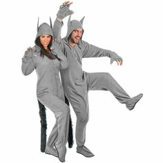 Grey Wolf Adult Halloween Costume Fleece Footed Pajamas Ready to Wear 942d0a9f9
