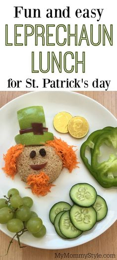 Fun and easy leprechaun lunch for St. Patrick's day. A festive and healthy lunch option for the holiday. With an adorable leprechaun sandwich and green fruits and veggies.