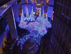 """Located within Shiodome's Caretta building, the """"Canyon d'Azur"""" is the star attraction amongst this impressive display Tokyo With Kids, Attraction, Neon Signs, Display, Make It Yourself, Star, Building, Floor Space, Billboard"""