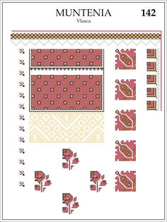 Semne Cusute: ie din MUNTENIA, Vlasca Folk Embroidery, Learn Embroidery, Embroidery Patterns, Cross Stitch Patterns, Machine Embroidery, Knitting Patterns, Paper Butterflies, Antique Quilts, Embroidery Techniques