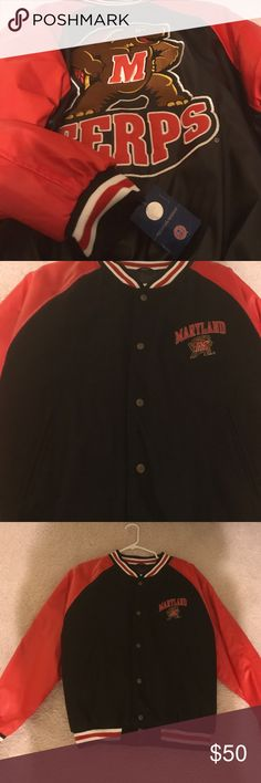 MARYLAND TERRAPINS WOMENS SPORTS JACKET Go Terps baby! Size medium red and black jacket new with tags with a turtle on the back! Pretty good gift to a person who is graduating from school and applying to Maryland or probably attends there or just likes turtles! Hahahha steve & berrys Jackets & Coats Utility Jackets