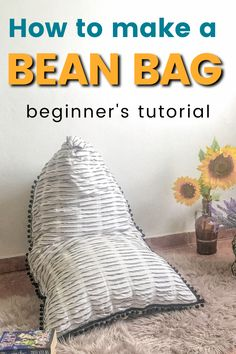 Make a bean bag with this sewing tutorial. Bean bag chair DIY is easy and budget-friendly so you don't have to spend so much money on a bean bag. Simple bean bag pattern, filling information, and step by step sewing instructions.