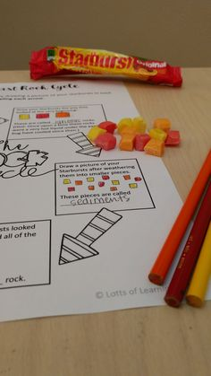 The rock cycle with Starbursts!You can find Rock cycle and more on our website.The rock cycle with Starbursts! Rock Science, Earth Science Lessons, Earth And Space Science, Science Activities For Kids, Teaching Science, Science Education, Physical Science, Science Tools, Learn Science