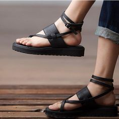 Roman Black And Brown Sandals