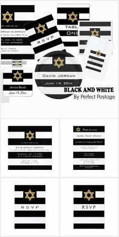 #Bar mitzvah black and white striped - personalize your own in 2 minutes!  ♥ Repinned by Annie @ www.perfectpostage.com