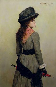 Herbert Gustave Schmalz : Girl With a Red Umbrella 1885