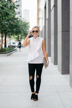 Ruffled Shirt & Ripped Jeans — bows & sequins. White ruffled top+black ripped jeans+black mules+metallic clutch+aviator sunglasses+long earrings. Summer outfit 2016