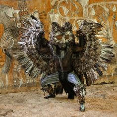 Mayan Dancer Representing an Owl, Symbol of Death in Mayan Mythology.  Xcaret, Riviera Maya, Yucatan, Mexico.