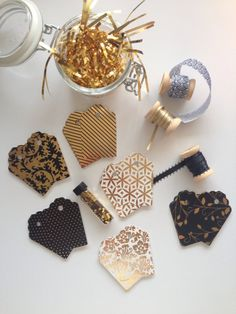 Mini Gift Wrap Kits - Lux Black White and Metallic Gold by RHCollection