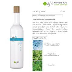 Das Ice Body Washit über 96% natürlichen Inhaltsstoffen und erfrischendem Menthol für Männer und normale Haut. Green Bodies, Body Wash, Vodka Bottle, Drinks, Cleaning, Drinking, Beverages, Shower Gel, Drink