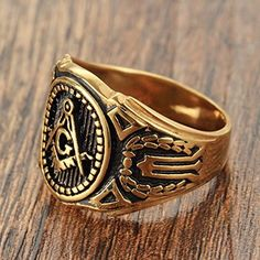 Cheap ring size, Buy Quality biker ring directly from China brand ring Suppliers: New Brand Heavy Punk Men's Gold Stainless Steel Masonic Master Biker Ring Size Freemason Ring, Meteorite Wedding Band, Mens Stainless Steel Rings, Biker Rings, Black Onyx Ring, Titanium Rings, Jewelry Accessories, Gold, Punk