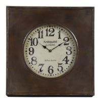 Antiqued Industrial Style Metal Factory Wall Clock with Glass Face