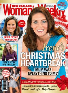 In this week's issue, Silver Fern Irene van Dyk opens up about losing her mum to cancer and facing the future without her.    Kiwi celebrities share their best and worst festive gifts over the years.     Russell Crowe makes a play to reunite with his wife and children, while Tom and Katie step out on the red carpet.    Christmas is almost upon us. Check out Annabelle White's recipes for a stress-free feast this Christmas.    The New Zealand Woman's Weekly – out now!
