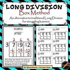 26 Worksheets Of Long Division With The Box Method Which Is A Horizontal Graphic Instead Of The Traditional Vertical Graphic. This Is A Must For Struggling Learners. The Steps Are Almost The Same But Much Easier To Remember And Has Clicked With Many Of My Math Charts, Math Anchor Charts, Math Strategies, Math Resources, Long Division Strategies, Long Division Activities, Teaching Long Division, Comprehension Strategies, Reading Comprehension