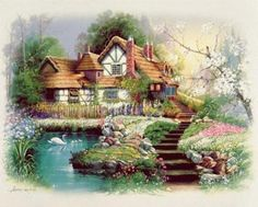 Coutnry Cottages by Andres Orpinas Art Prints, Posters & Custom Framing from Australia's own PictureStore. Dream Pictures, Pictures To Paint, Pretty Pictures, Thomas Kinkade Art, Costume Venitien, Art Thomas, Painted Cottage, Inspirational Wall Art, Beautiful Paintings