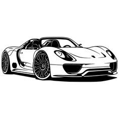 The Porsche Cayman - Super Car Center Porsche 918, Carros Porsche, Car Design Sketch, Car Sketch, Cool Car Drawings, Car Silhouette, Car Tattoos, Sports Car Wallpaper, Cars Coloring Pages